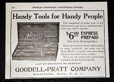 1909 Old Magazine Print Ad, Goodell-Pratt Tools, Handy Tools For Handy People!