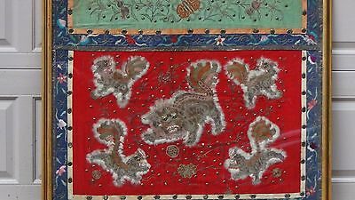 Antique Chinese Large Silk Embroidery Gold&Silver Stitches 5 Foo-Dogs Panel