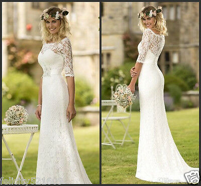 2016 New Half Sleeve Lace Wedding Dress Bridal Gown Custom Size4 6 8 10 12 14 16