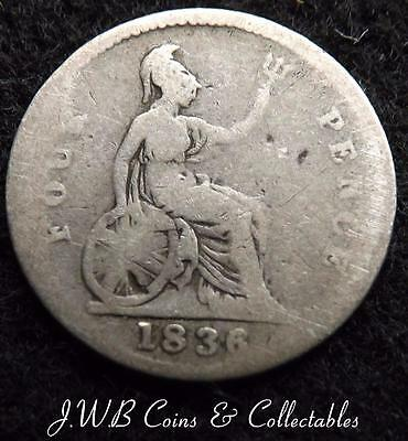 1836 William IV Silver Groat / Fourpence Coin - Great Britain...