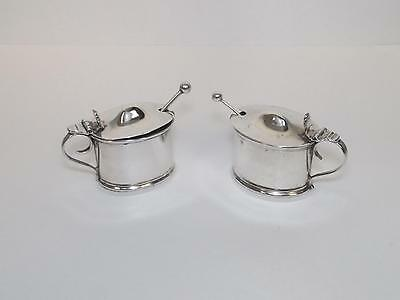 1896 Dated Pair Of Silver Mustard Pots And Spoons