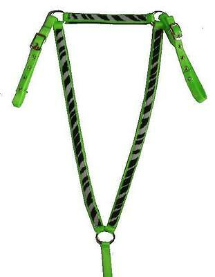 ZEBRA on LIME GREEN Nylon English Breastcollar Breast Collar Plate Horse Size