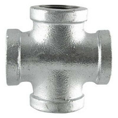 "1-1/4"" GALVANIZED MALLEABLE IRON CROSS 4-way TEE fitting pipe npt"