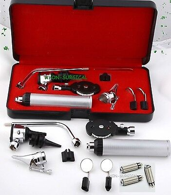 NEW ENT Opthalmoscope Ophthalmoscope Otoscope Nasal Diagnostic Set Kit + 3 BULB
