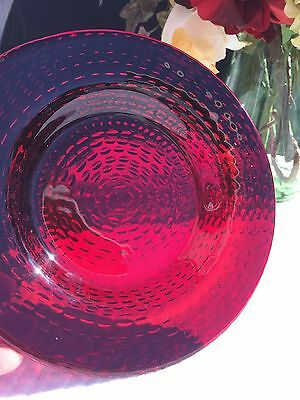 Set of 4 Ruby Glass Low Bowls W Strawberry Seed Pattern on Bottom 2 sets avail.
