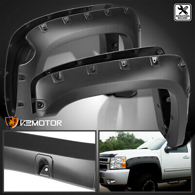 "07-13 Chevy Silverado 1500 69"" Short Bed 4PC Black Fender Flares Pocket Style"