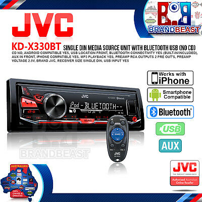 New Jvc Kd-X330Bt Digital Media Receiver Aux Usb Bluetooth Car Stereo Flac No Cd