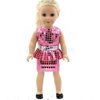 """Elegant Pink Sequins Dress for Our Generation American Girl 18"""" Doll Clothes"""