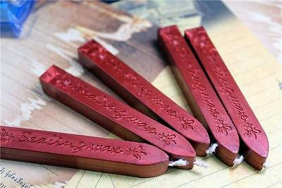 5Pcs Wine Red Manuscript Sealing Seal Wax Sticks Wicks For Postage Letter New
