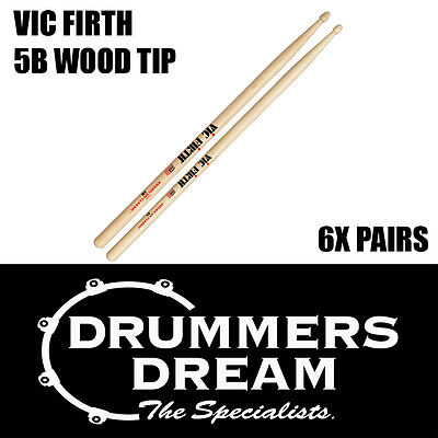 Vic Firth 5B Wood Tip Drumsticks 6 Pairs American Hickory Classic Drum Sticks