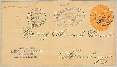 51084 -  EL SALVADOR -  POSTAL HISTORY - POSTAL STATIONERY COVER to GERMANY 1901