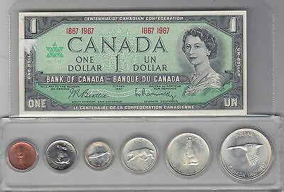 1967 Centennial Coin Set and $1 Bank Note