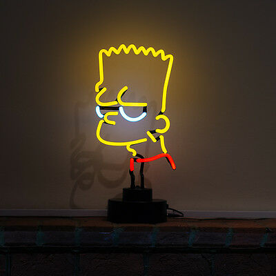 Real Neon Bar Sign Large 3D Light Scuplture Table Lamp Cartoon The Simpsons BART