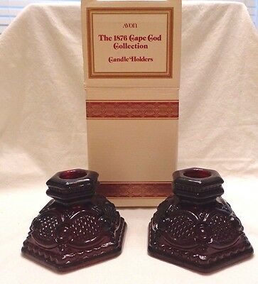 Vintage Avon Ruby Red Cape Cod  Pair Of Short Candle Holders In Box