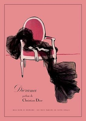 Vintage 1950's  French Christian Dior Perfume Advertisement Poster A3 Re Print