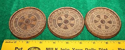 3 Rotary International Resin Tokens Coasters Coins - Very Nice Vintage Condition