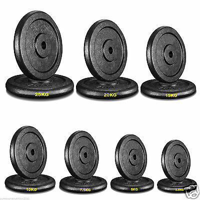 """Black Cast Iron Weight Plates 1"""" Disc Dumbbell Barbell Bar Weights Plate-"""