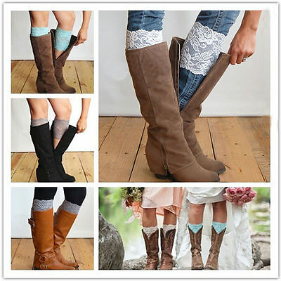 New Stretch Lace Boot Cuffs Flower Leg Warmers Lace Trim Toppers Socks