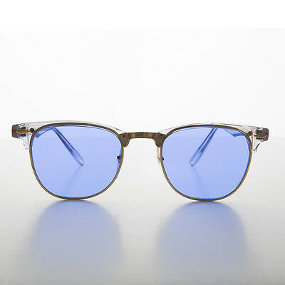 Blue Tinted Aviator Sunglasses  gold frame oval lens vintage sunglass with side lens willow
