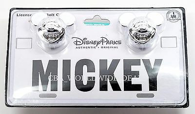 NEW Disney Parks Silver Chrome Mickey Mouse License Plate Bolt Covers