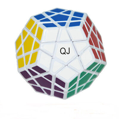New Pro White Cube Ultra-smooth 12 Color Polygon Toy Megaminx Magic Twist Puzzle