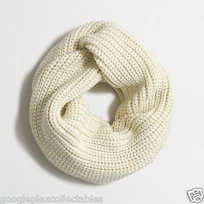 "Womens Infinity Scarf ""J. Crew"" Warm Ivory Metallic-Ribbed Knit Metallic Threads"