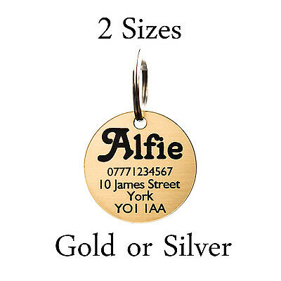 Engraved Pet Tags ID Dog Cat Puppy Tag in 2 Sizes Gold or Silver 25mm & 30mm