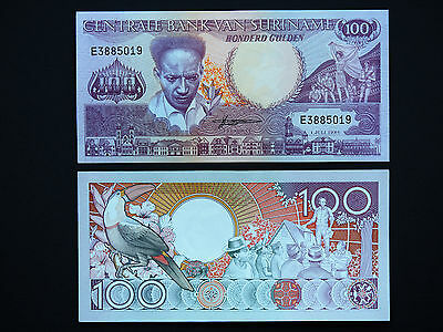Suriname Banknotes  -   Very Lovely 100 Gulden Note    Mint Unc   Date 1986