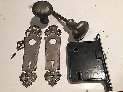 Antique Interior Door Set Knob Plate Lock Lockset mortise set decorative metal b