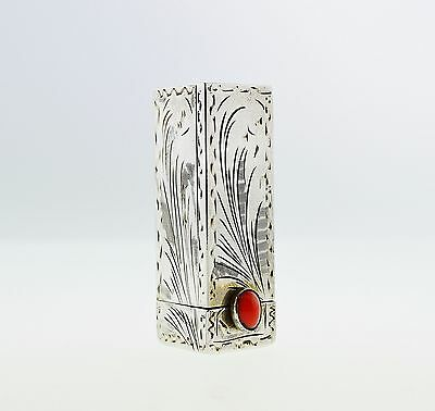 Vintage 800 Silver Coral Engraved Lipstick Tube  Holder with Mirror