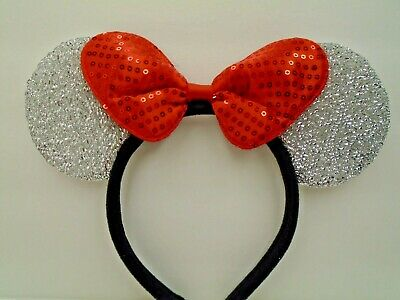 MINNIE MOUSE EARS Headband Silver Sparkle Shimmer - Red Sequin Bow Mickey