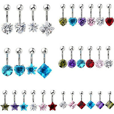 14g CZ Gem Surgical Steel Barbell Bars Belly Navel Button Rings Piercing Jewelry