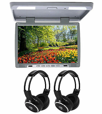 "TView T176IR Gray 17"" Car Video Flip Down Overhead Monitor +2 Wireless Headsets"