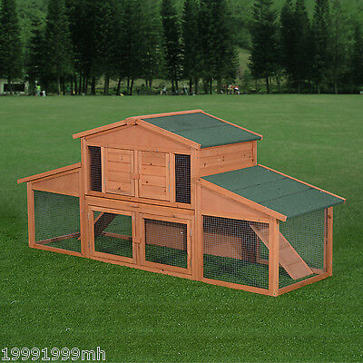 PawHut 7.55' Wood Chicken Cage Rabbit Hutch Poultry Coop Habitat House Run Tray