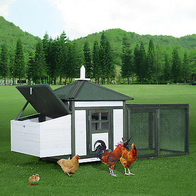 PawHut Chicken Cage Deluxe Pet Coop Backyard Hen Hutch House Habitat Nest Box