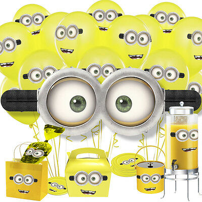 16/32/64 x Minions Eyes & Mouth Stickers for Balloons Birthday Party Sweet Cones