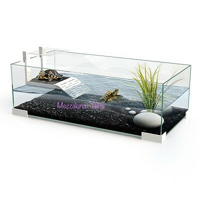 Ciano Tartarium 40 60 & 80 Turtle Terrapin Reptile Glass Turtles Tank with Ramp