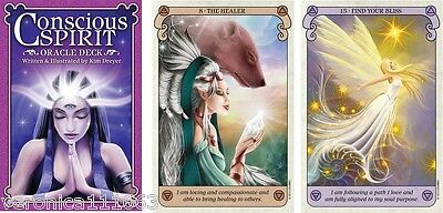 Conscious Spirit Oracle NEW Sealed 44 Color Cards Guide book 44pgs Kim Dryer