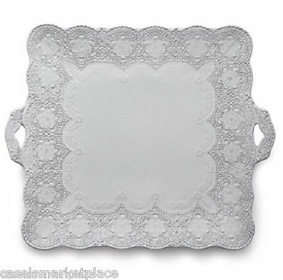 Arte Italica Merletto White Lace Square Platter with Handles Made in Italy