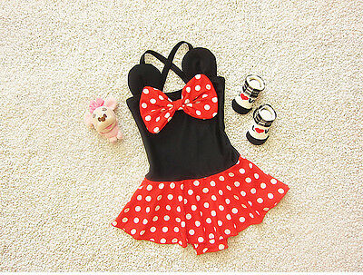 Toddler Kids Baby Girl One Piece Polka Dot Swimsuit Bikini Set Tankini Swimwear