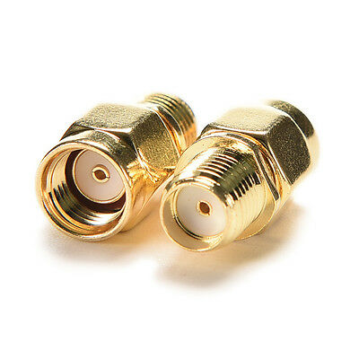 2Pcs RP-SMA Female Jack to SMA Male Plug Straight RF Coaxial Adapter Connectors
