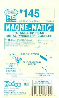 "Kadee #145 HO Scale Magne-Matic Standard Head Metal Whisker Couplers 1/4"" (4)"