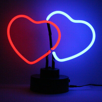 Real Neon Sign (Not LED) Bedside Table Lamp Party Theme Light DOUBLE HEART LINK