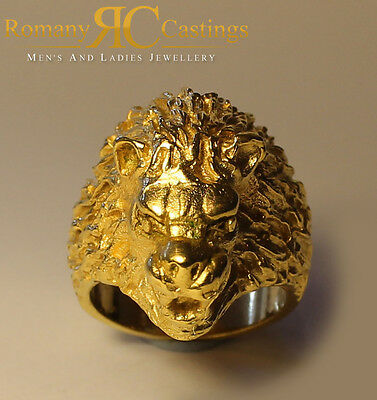 Polished Lion's Head  Ring  in 9ct Solid Gold 41 grams Fully Hallmarked