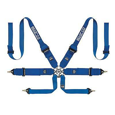 Sparco FIA Approved 6 Point Pro Racer HANS Saloon/Rally Race Harness In Blue