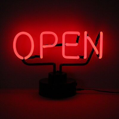 Retail Shop Restaurant Bar Real Neon (Not LED) OPEN BLOCK RED Sign Illuminated