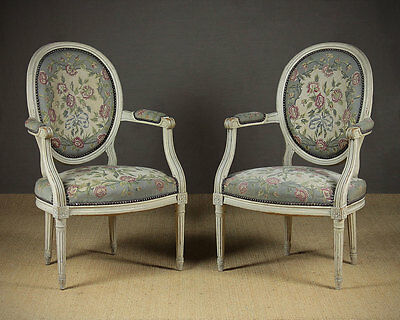 Pair of Antique French Painted Armchairs c.1910.