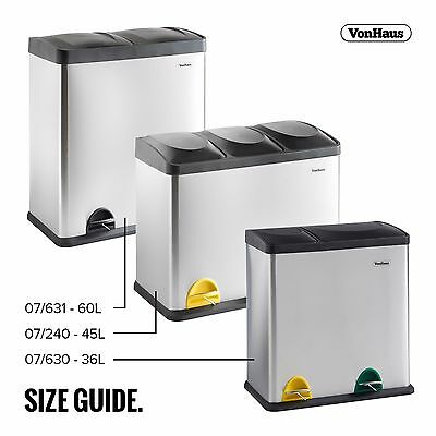VonHaus Stainless Steel Multi Compartment Large Recycling Recycle Pedal Bin