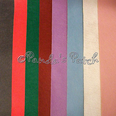 "8 Mixed Pack Wool Mix Self Adhesive Felt Squares 9"" - Free P&P"