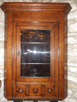 Antique Georgian glazed hanging corner cabinet Oak cupboard drawer shelves